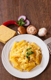 Rigatoni pasta with cheese Royalty Free Stock Photography