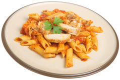 Rigatoni Pasta with Chicken Stock Photography