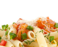 Rigatoni pasta closeup Royalty Free Stock Images