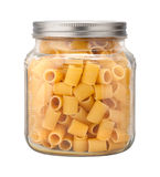 Rigatoni Pasta in a Glass Jar Stock Image
