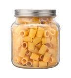 Rigatoni Pasta in a Glass Jar Stock Image