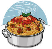 Rigatoni pasta with meatballs Royalty Free Stock Photography