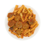 Rigatoni pasta with meatballs and sausage on a plate Royalty Free Stock Photography