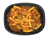 Rigatoni pasta with meatballs and sausage TV dinner Royalty Free Stock Photo