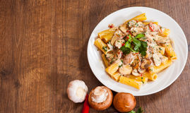 Rigatoni pasta with mushroom sauce Royalty Free Stock Photo