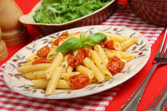Rigatoni Pasta with Roast Cherry Tomatoes. Pasta meal with tomatoes, fennel seeds and olive oil Stock Photos