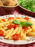 Rigatoni Pasta with Roasted Cherry Tomatoes Royalty Free Stock Images