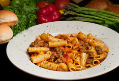 Rigatoni Pasta with Sausage Stock Photo