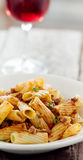 Rigatoni pasta with tomato meat sauce and wine Royalty Free Stock Images