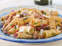 Rigatoni Pasta with a Tomato and Pancetta Stock Image