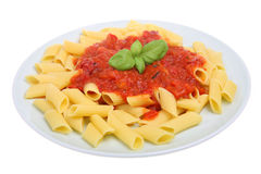 Rigatoni Pasta and Tomato Sauce Royalty Free Stock Photography