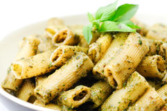 Rigatoni pesto pasta with chicken Stock Photography