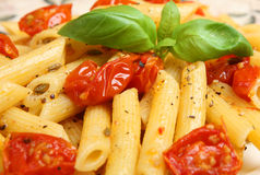 Rigatoni with Roasted Cherry Tomatoes Stock Photo