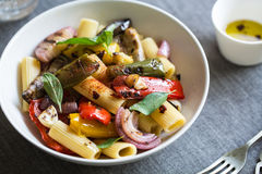 Rigatoni with roasted varieties of vegetables Stock Images