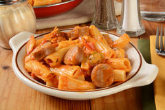 Rigatoni with sausage Stock Photos