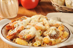 Rigatoni with sausage and marinara sauce Stock Images