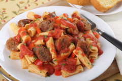 Rigatoni and Sausage Stock Image