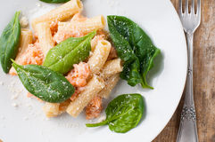 Rigatoni with seafood Stock Image