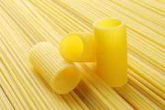 Rigatoni and spaghetti, italian pasta Stock Photo