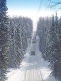 Riggflyttning i vintern Arkivfoto