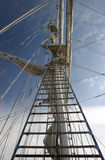 The Rigging. Upwards view of tall ship mast royalty free stock photography