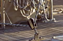 Rigging. Sailing rigging. The metal block and cords. Sailing sports Stock Image
