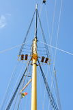 Rigging. The rigging of a sailing ship without a sail Stock Photography