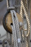 Rigging. Ropes on a old ship Royalty Free Stock Image