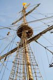 Rigging of big sailing ship stock photography