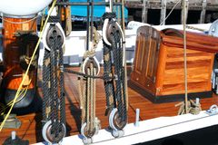 Rigging and Boat Deck. On a wooden sailing ship royalty free stock photo