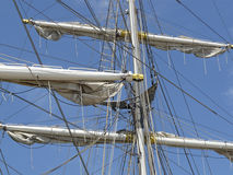 The rigging of the brig Mercedes from Amsterdam Stock Photo