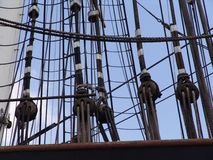 Rigging on the Cutty Sark. Clipper in Greenwich stock photography