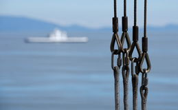 Rigging on a ferry to Victoria, British Columbia -2 Stock Image