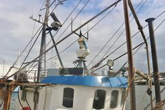 Rigging of a fishing boat, Denmark. Royalty Free Stock Photo