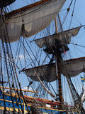 Rigging on Gutenberg Tallship. Sails and rigging on the Gutenberg Swedish tallship royalty free stock photo