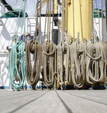 Rigging hanging at a mast Stock Images