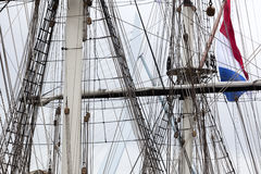 Rigging of a historical sailing ship Stock Photography