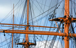 The rigging. On HMS Warrior set against blue sky in Portsmouth Dock Royalty Free Stock Image