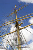 Rigging and mast of old ship in detail.  Stock Photos