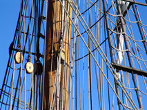 Rigging and mast of tallship. Close up showing rigging and mast of tallship sailboat stock photo