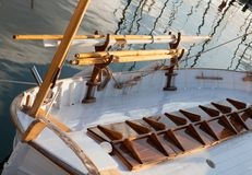 Rigging of the old boat royalty free stock photography