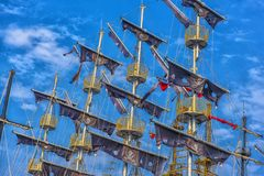 Rigging of a pirate ship Royalty Free Stock Images