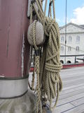 The rigging and rope details of a tall sailing Stock Image