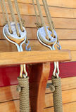 Sailboat Rigging. Rope and Pulleys Stock Photos