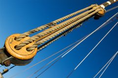 Rigging and ropes. Part of the old sail ship rigging royalty free stock image