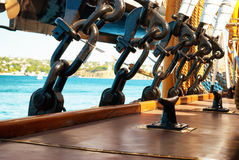 Rigging and ropes. Black metal rigging and ropes on a deck of sail ship Stock Images