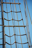 Rigging ropes at the old sailing vessel Royalty Free Stock Photos