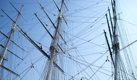 Rigging and ropes on sailboat Stock Image