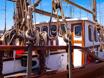 Rigging the Sail. The rigging the sailing ship with ropes and mast Royalty Free Stock Image