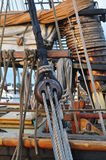 Rigging of a Sailboat. Ropes and rigging of a sailboat Stock Photos